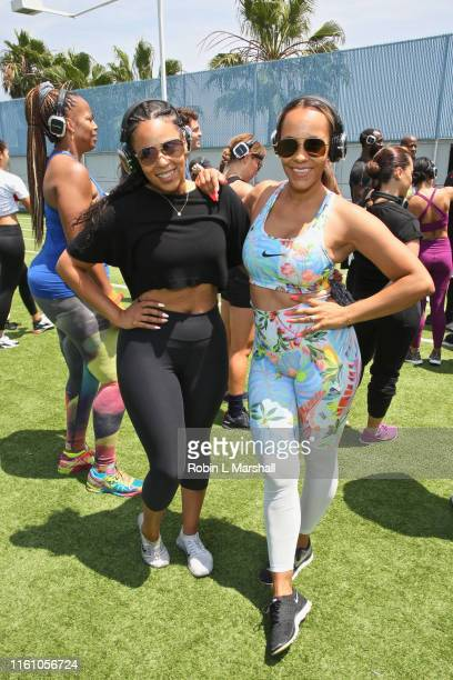 Ashley North and friend Ashley attend Boxing And Brunch event at Equinox Sports Club West LA on July 09 2019 in Los Angeles California