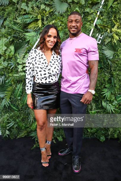 Ashley North and NFL player Dashon Goldson attend Ashley North's Launch of 'AN STYLE' Candles at IceLink Boutique and Rooftop Lounge on July 11 2018...