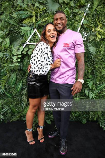 Ashley North and NFL player Dashon Goldson attends Ashley North's Launch of 'AN STYLE' Candles at IceLink Boutique and Rooftop Lounge on July 11 2018...
