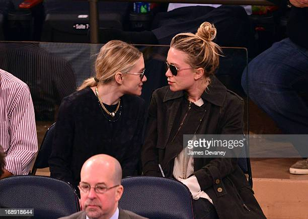 Ashley Olsen and MaryKate Olsen attend the Indiana Pacers Vs New York Knicks Game at Madison Square Garden on May 16 2013 in New York City