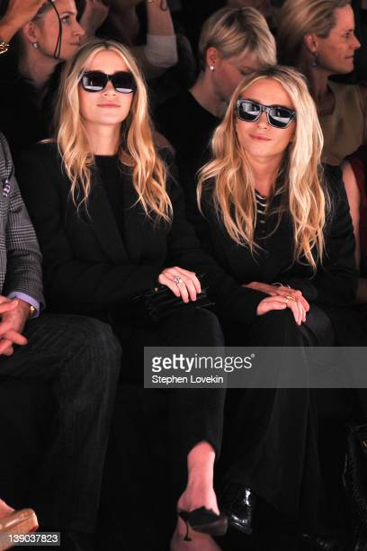 Ashley Olsen and MaryKate Olsen attend the J Mendel Fall 2012 fashion show during MercedesBenz Fashion Week at The Theatre at Lincoln Center on...