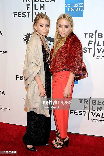 Ashley Olsen and MaryKate Olsen attend the opening night premiere of 'The Union' at the 2011 Tribeca Film Festival at North Cove at World Financial...