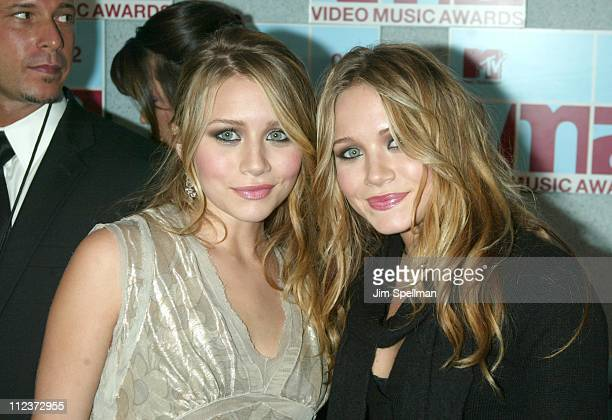 Ashley Olsen and MaryKate Olsen during 2002 MTV Video Music Awards Arrivals at Radio City Music Hall in New York City New York United States