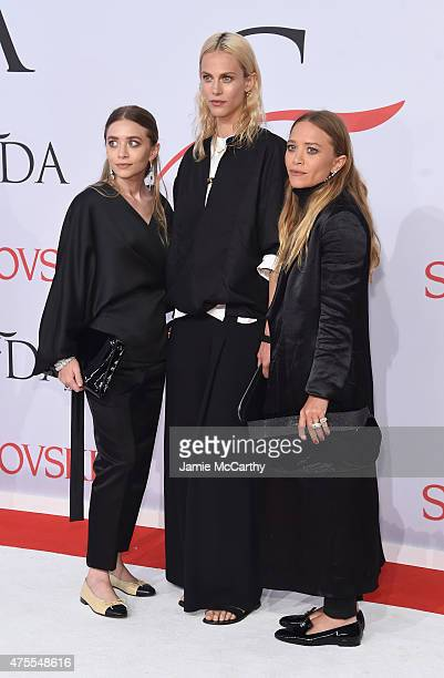 Ashley Olsen Aymeline Valade and MaryKate Olsen attend the 2015 CFDA Fashion Awards at Alice Tully Hall at Lincoln Center on June 1 2015 in New York...