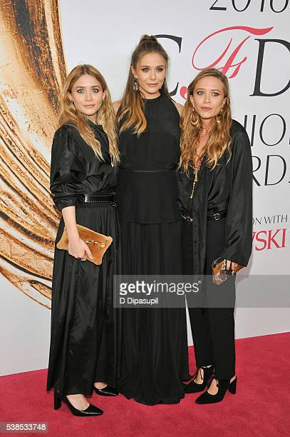 Ashley Olsen Elizabeth Olsen and MaryKate Olsen attend the 2016 CFDA Fashion Awards at the Hammerstein Ballroom on June 6 2016 in New York City