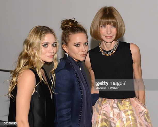 Ashley Olsen MaryKate Olsen and Editorinchief of American Vogue Anna Wintour attend WSJ Magazine's 'Innovator Of The Year' Awards at MOMA on October...