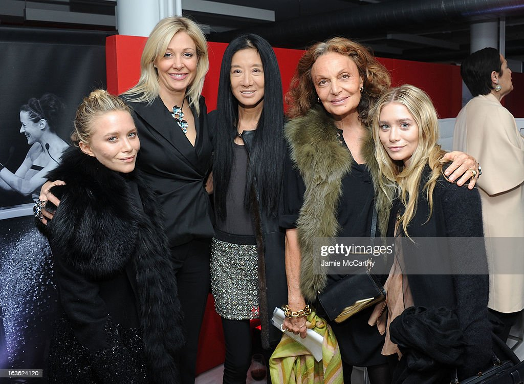 Ashley Olsen, Nadja Swarovski, Vera Wang, Diane von Furstenberg and Mary-Kate Olsen attend the CFDA 2013 Awards Nomination event on March 13, 2013 in New York City.
