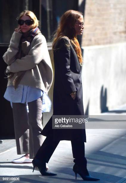 Ashley OlsenMaryKate Olsen are seen in the West Village on April 20 2018 in New York City