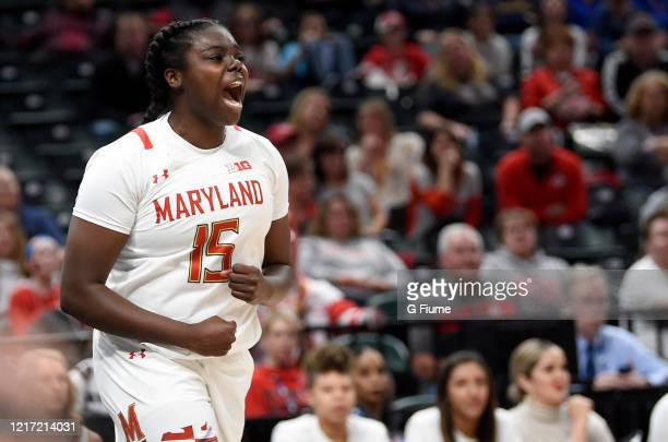 Ashley Owusu of the Maryland Terrapins celebrates during the game against the Ohio State Buckeyes during the Championship game of Big Ten Women's...