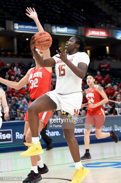 Ashley Owusu of the Maryland Terrapins drives to the hoop against the Ohio State Buckeyes during the Championship game of Big Ten Women's Basketball...