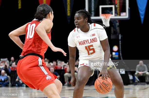 Ashley Owusu of the Maryland Terrapins handles the ball against the Ohio State Buckeyes during the Championship game of Big Ten Women's Basketball...