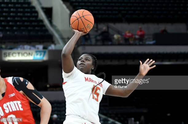 Ashley Owusu of the Maryland Terrapins shoots the ball against the Ohio State Buckeyes during the Championship game of Big Ten Women's Basketball...