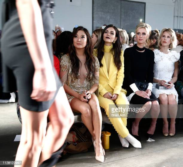 Ashley Park Victoria Justice Nicky Hilton and guest are seen during the Pamella Roland fashion show at Pier 59 on February 07 2019 in New York City