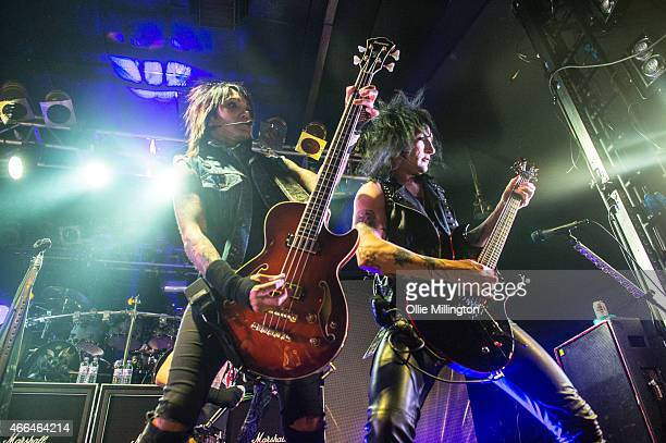 Ashley Purdy and Jinx of Black Veil Brides perform on stage during an intimate European tour rehersal show for fans at Electric Ballroom on March 15...