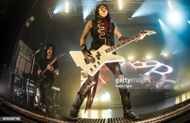 Ashley Purdy and Jinxx of Black Veil Brides perform live on stage at O2 Academy Birmingham on January 23, 2018 in Birmingham, England.