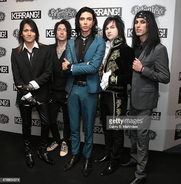 Ashley Purdy Andy Biersack and Jinxx of Black Veil Brides attends the Relentless Energy Drink Kerrang Awards at the Troxy on June 11 2015 in London...