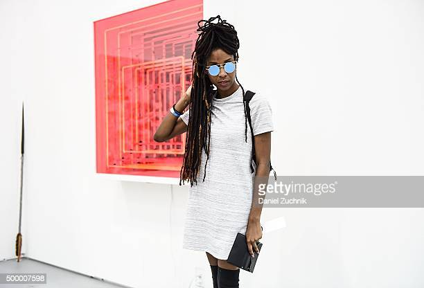 Ashley Rhoden is seen wearing a vintage top at Untitled Art Fair on December 4, 2015 in Miami, Florida.