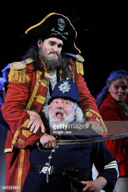 Ashley Riches as The Pirate King and John Tomlinson as Sergeant of Police in English National Opera's production of Arthur Sullivan and WS Gilbert's...