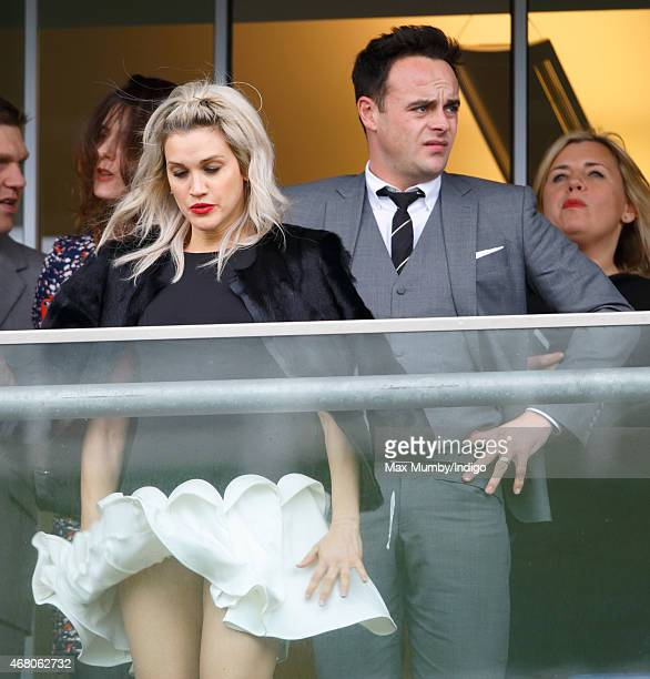 Ashley Roberts and Anthony McPartlin watch the racing as they attend The Prince's Countryside Fund Raceday at Ascot Racecourse on March 29 2015 in...