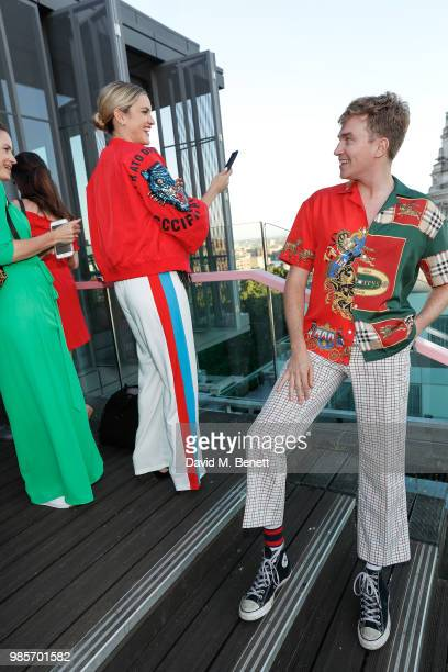 Ashley Roberts and Cowan Fletcher attend the opening of new rooftop bar Savage Garden on June 27 2018 in London England