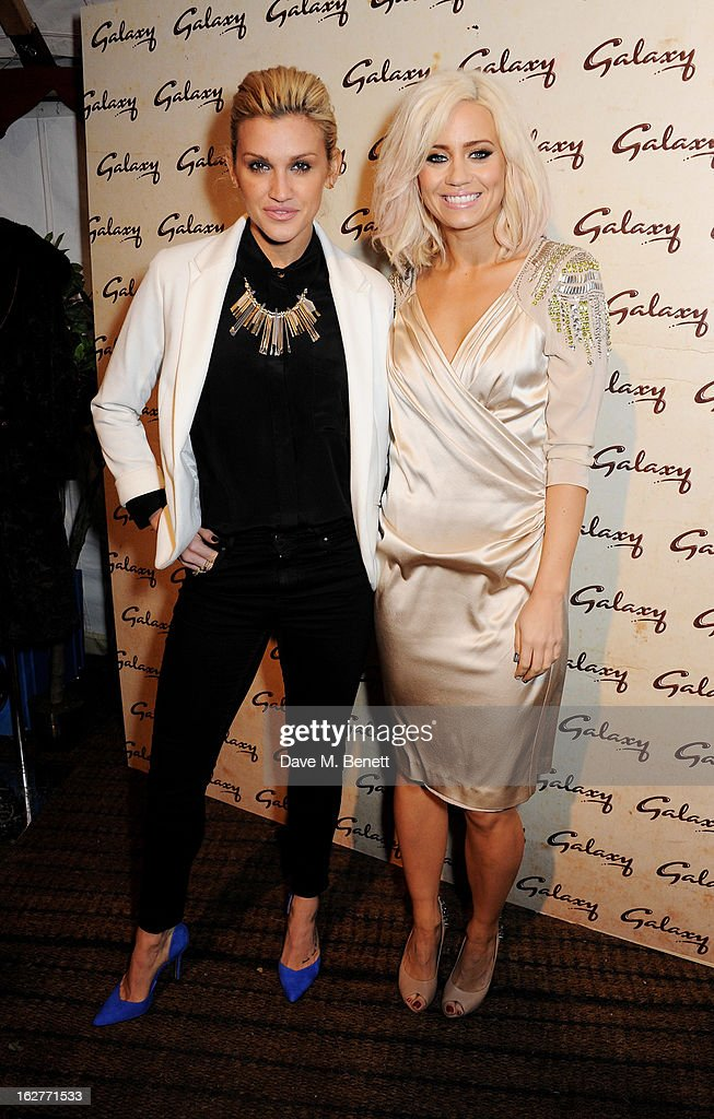Ashley Roberts (L) and Kimberly Wyatt attends the Galaxy Pop Up Drive-In Cinema at the Doon Street Car Park on February 26, 2013 in London, England.
