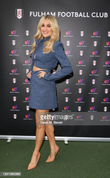 Ashley Roberts attends a brunch to celebrate the partnership between World Mobile and Fulham FC at Craven Cottage on July 28, 2021 in London, England.