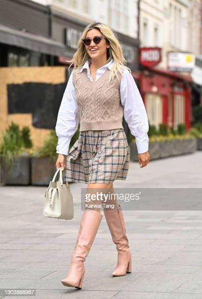 Ashley Roberts departs Global radio studios on February 24, 2021 in London, England.