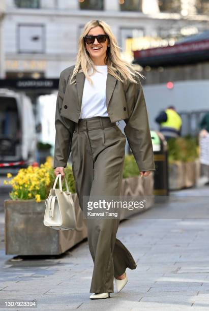 Ashley Roberts departs Global radio studios on March 19, 2021 in London, England.