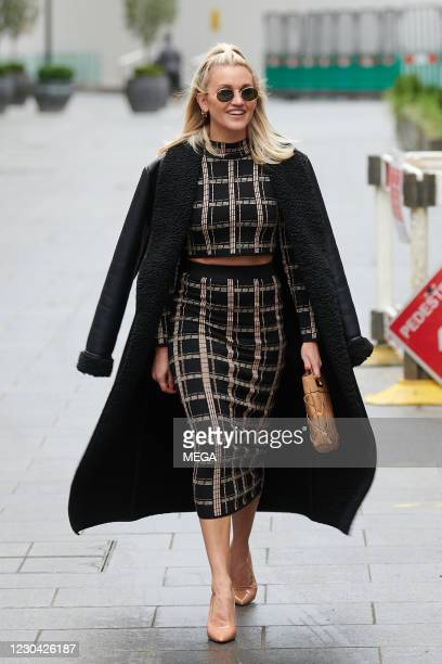Ashley Roberts is seen leaving Global Radio Studios on January 4, 2021 in London, England.
