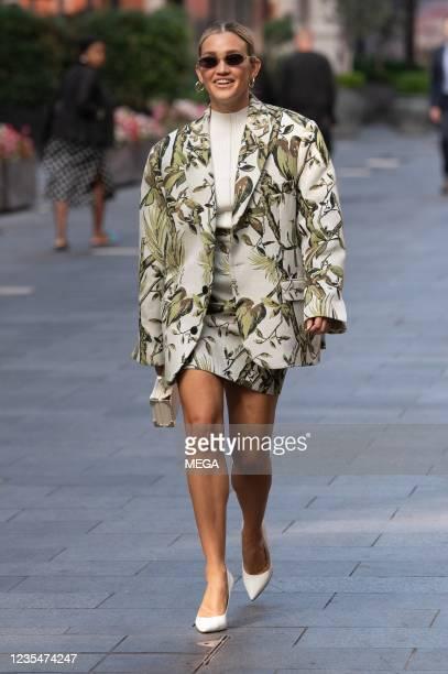 Ashley Roberts is seen leaving Global Studios on September 24 2021 in London, England.