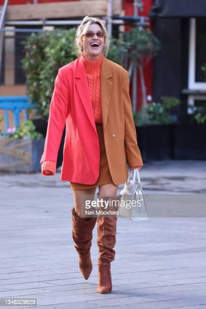 Ashley Roberts is seen leaving Heart Breakfast Radio Studios on October 13, 2021 in London, England.