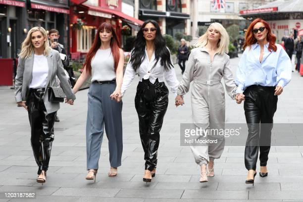 Ashley Roberts, Jessica Sutta, Nicole Scherzinger, Kimberly Wyatt and Carmit Bachar from the Pussycat Dolls seen at Global Radio Studios for an...