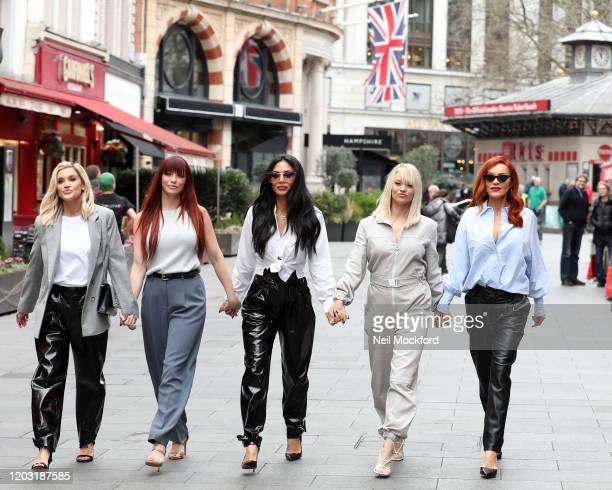 Ashley Roberts Jessica Sutta Nicole Scherzinger Kimberly Wyatt and Carmit Bachar from the Pussycat Dolls seen at Global Radio Studios for an...