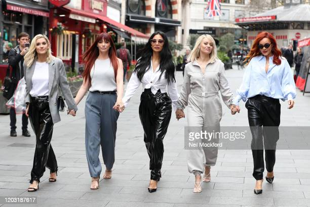 Ashley Roberts, Jessica Sutta, Nicole Scherzinger, Kimberly Wyatt and Carmit Bachar from the Pussycat Dolls seen at Global Radio Studios for an...