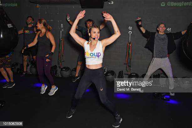 Ashley Roberts leads a special charity KOBOX class with Doug Fordyce in aid of Proud partner Rainbow Railroad at KOBOX City on August 11 2018 in...