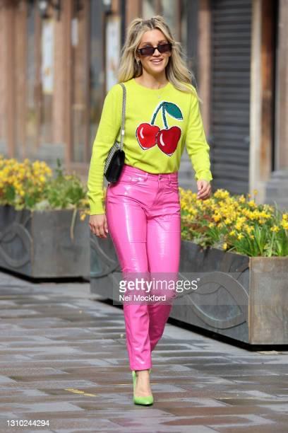 Ashley Roberts leaving Heart Breakfast Radio Studios on April 01, 2021 in London, England.