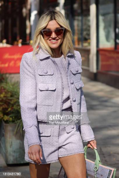 Ashley Roberts leaving Heart Breakfast Radio Studios on April 20, 2021 in London, England.
