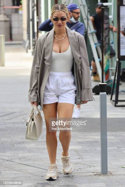 Ashley Roberts leaving Heart Breakfast Radio Studios on June 15, 2021 in London, England.