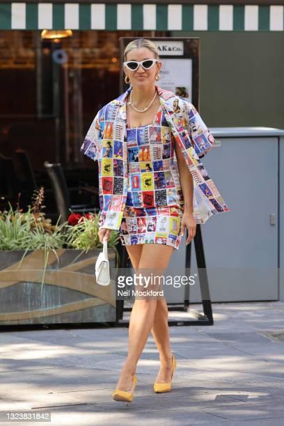 Ashley Roberts leaving Heart Breakfast Radio Studios on June 16, 2021 in London, England.