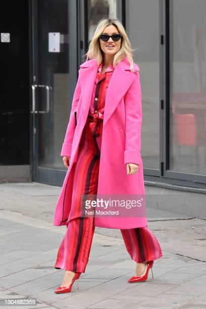 Ashley Roberts leaving Heart Breakfast Radio Studios on March 01, 2021 in London, England.