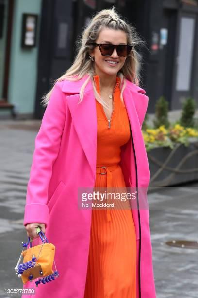 Ashley Roberts leaving Heart Breakfast Radio Studios on March 04, 2021 in London, England.