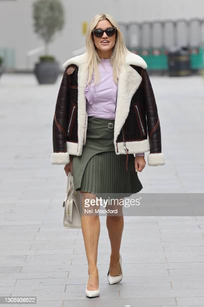 Ashley Roberts leaving Heart Breakfast Radio Studios on March 08, 2021 in London, England.