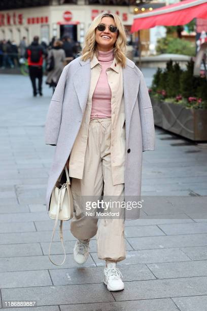 Ashley Roberts leaving Heart Breakfast Radio Studios on November 11, 2019 in London, England.