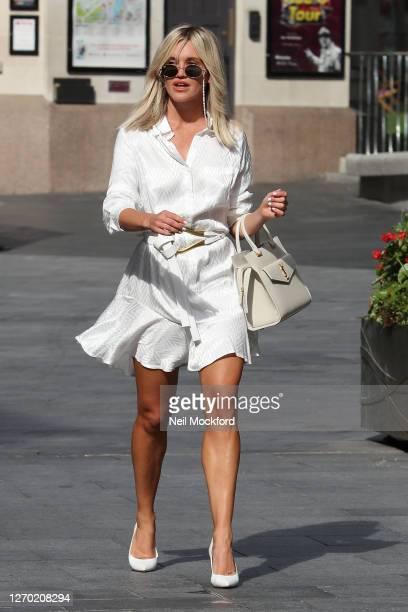 Ashley Roberts leaving Heart Breakfast Radio Studios on September 02, 2020 in London, England.