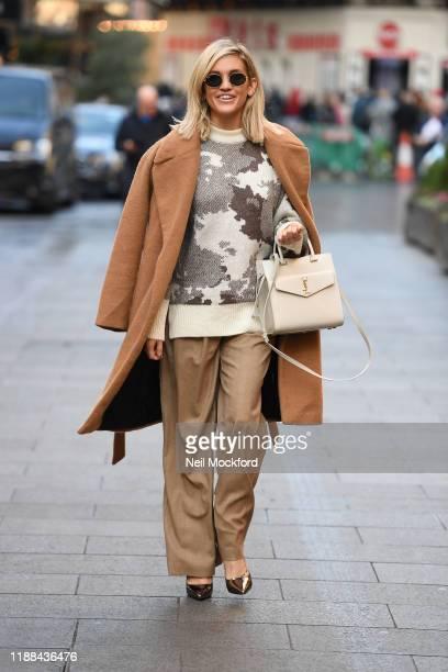 Ashley Roberts leaving Heart Breakfast studios on November 18, 2019 in London, England.