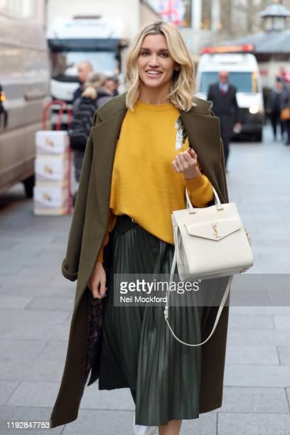 Ashley Roberts leaving Heart Radio Studios on December 09, 2019 in London, England.