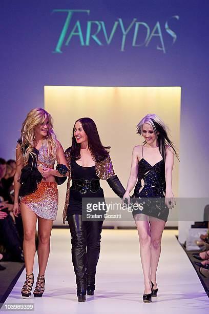 Ashley Roberts, Ruth Tarvydas and Lara Kovacevich on the catwalk during the Ruth Tarvydas catwalk show as part of Perth Fashion Week 2010 at Fashion...