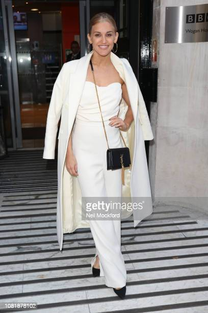 Ashley Roberts seen at BBC Radio Studios ahead of this weekends 'Strictly Come Dancing' Final on December 13 2018 in London England
