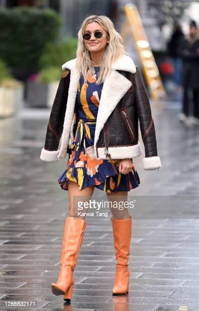 Ashley Roberts seen departing Global Radio Studios, Leicester Square on December 01, 2020 in London, England.