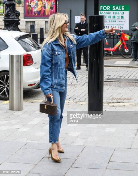 Ashley Roberts seen departing Global Studios on March 26, 2021 in London, England.